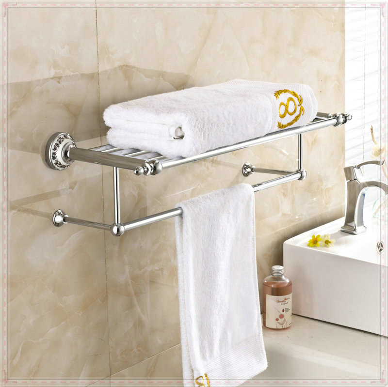 Wall Mount Chrome Polished Bath Towel Holder Bathroom Towel Rack Bar vasos for jillkets electric water heater(China (Mainland))
