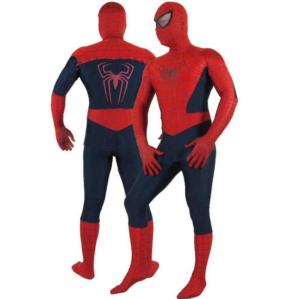 free shipping spiderman costume halloween costume adult spiderman zentai suit costume party. Black Bedroom Furniture Sets. Home Design Ideas