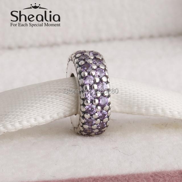 Весна коллекция аутентичные 925 чистое серебро спейсерной подвески-талисманы с причудливыми фиолетовый циркон подходит бренд своими руками браслеты SH0599A