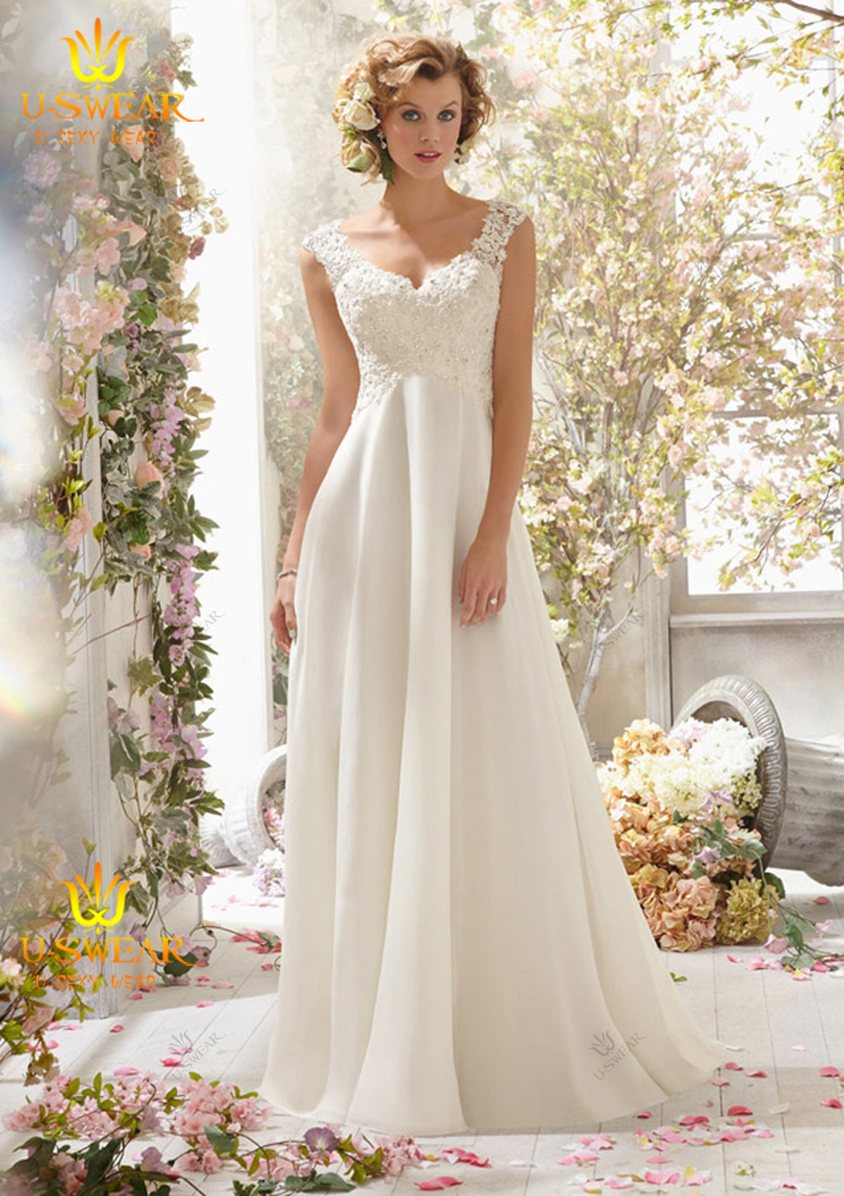 Wedding Dress Patterns Empire Line : Empire line wedding dresses sexy lace appliques chiffon beach