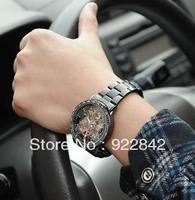 Sinobi Brand Black Cutout Military Mechanical Hand Wind Mens Watch Real Men Fashion Business Cacual Stainless Steel Watch
