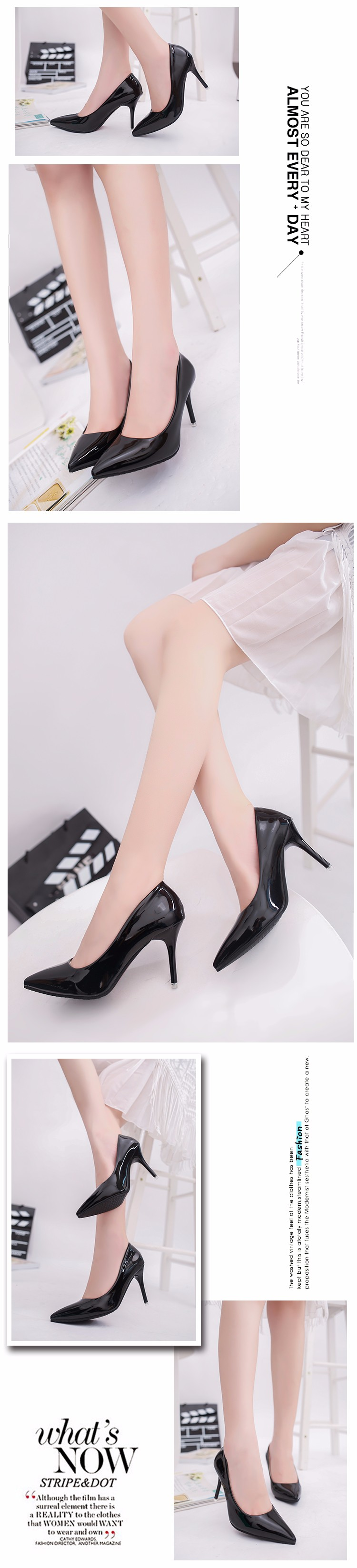 Free shipping basconi shoes woman high heels pointed a stiletto heel black patent leather Single shoe drop shipping