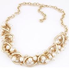 Wedding Bridal Pearl Pendant Bib Statement Collar Choker Chunky Jewelry For Women Necklace Free Shipping