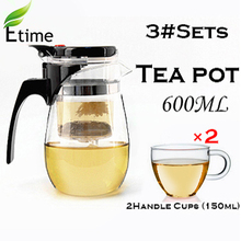 tea set Eco-Friendly Heat-Resistant Chinese teapot (600ml Teapot + 2 handle Cups 150ml) Portable Household tea service ETP001#3