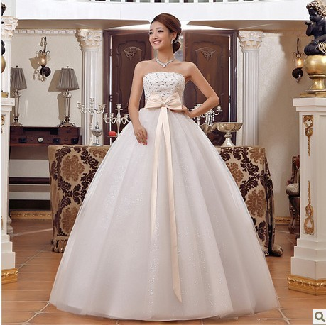 Free shipping 2013 wedding dress high waist Bra maternity wedding dress sweet princess puff wedding dress