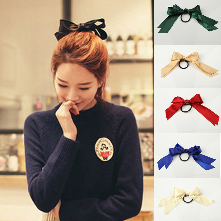 Bowknot Elastic Hair Band Tie Rope Ponytail Holder Satin Ribbon Rubber Band Fashion Hair Accessories Headwear-001914(China (Mainland))