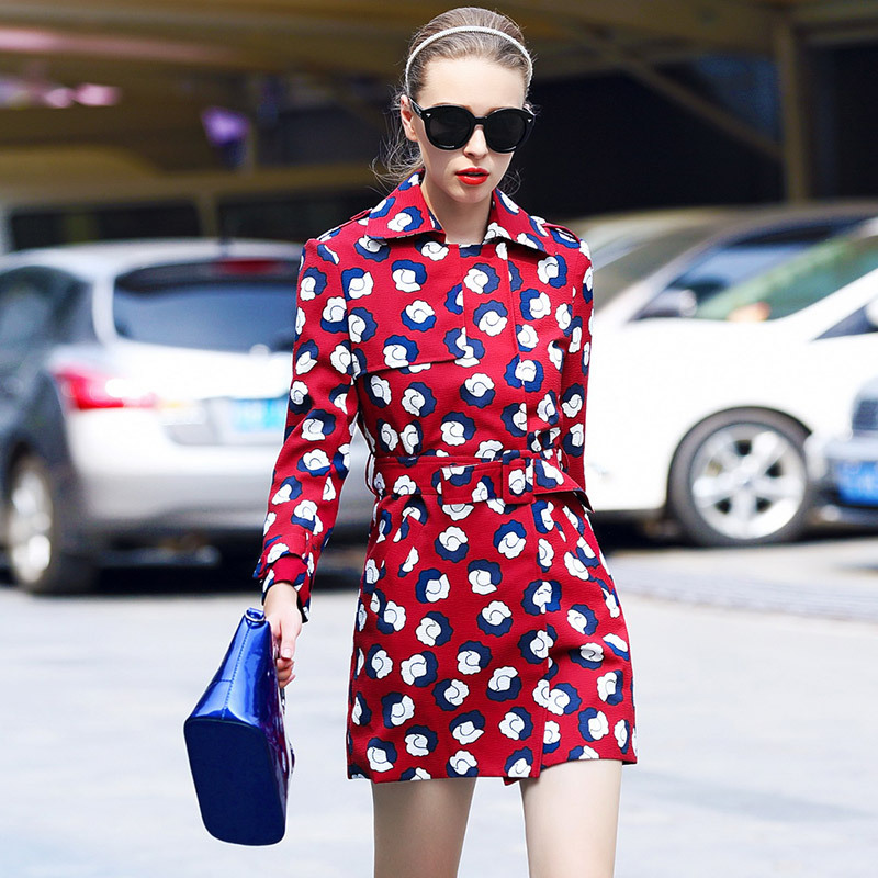 2015 Women Trench Coat Autumn Winter Casual Red Slim Print Long Trench Coat Ladies Coats Plus Size Female Free Shipping Одежда и ак�е��уары<br><br><br>Aliexpress