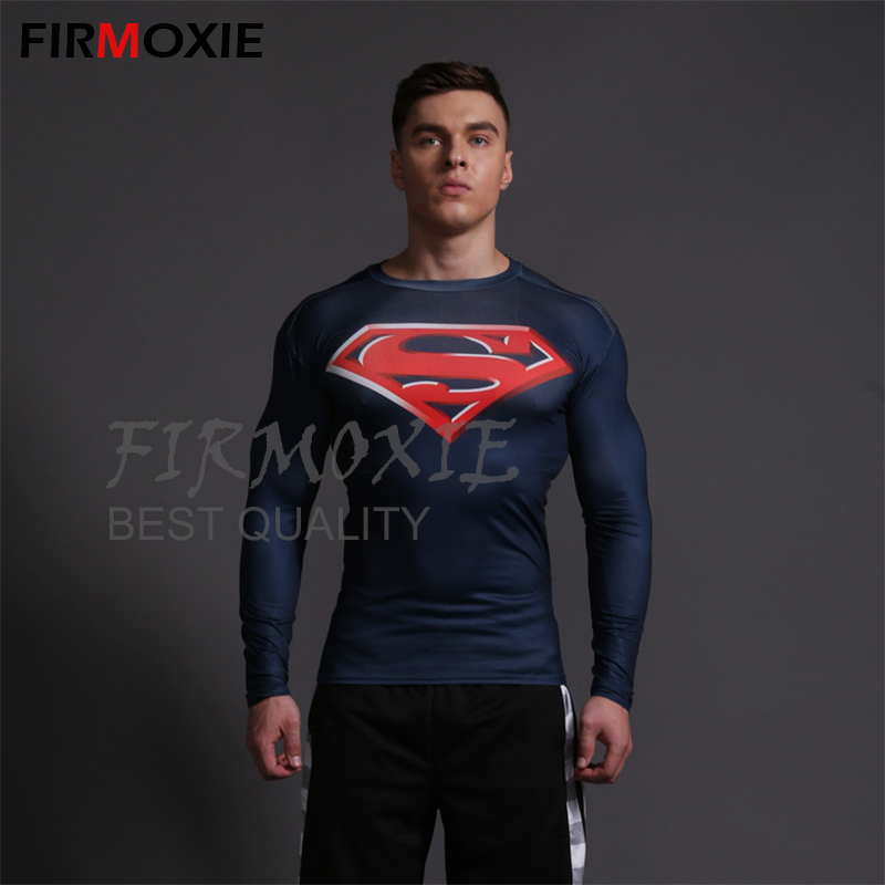 Men's Body Sculpting Clothing,3D Printing Comic Superhero Compression Fitness wear,Superman Shapewear GYM Sports Coss Fit Shirts - FIRMOXIE Store store