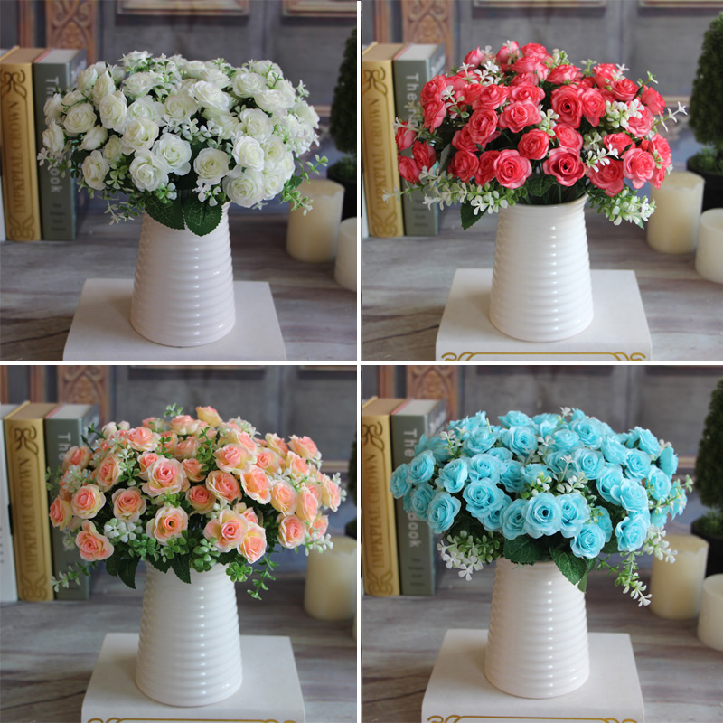 Hot Pretty Charming Delightful 15 Buds 1 Bouquet Mini Rose Artificial Silk Flower Bridal Home Decal(China (Mainland))