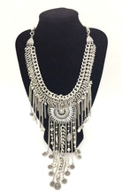 Bohemian Luxury Crystal Flower Long Chain Disk Tassel Statement Necklace Chunky Multilayer Chain Clavicle Necklaces