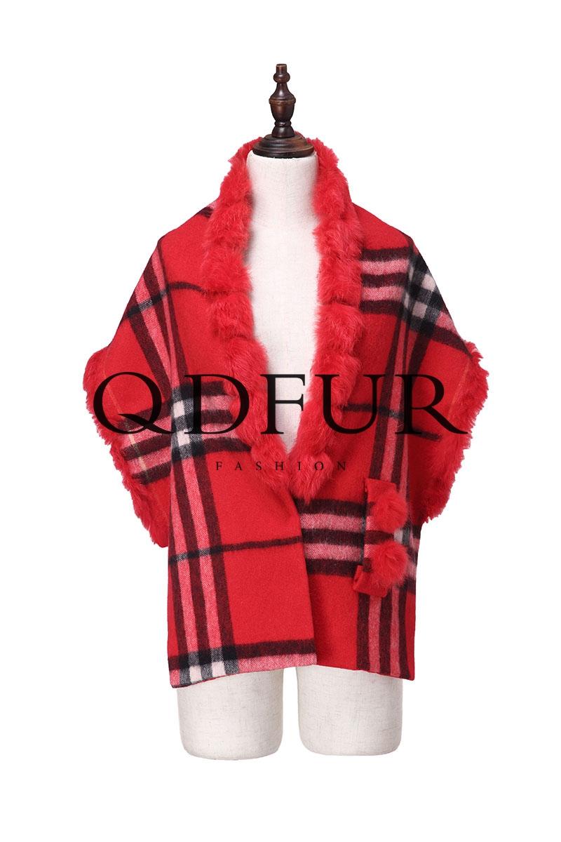 Wool Cape Rabbit Collar Luxury Women Shawl Wraps 2016 Special Design Autumn Winter Christmas Gift Fashion Grid Scarf QD82036(China (Mainland))
