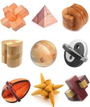 9 unids/lote Classic IQ mente de madera 3D enclavamiento Burr rompecabezas juego para adultos y niños
