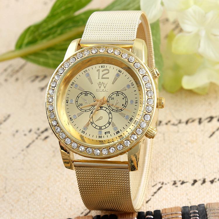 gold mesh strap montre luxe femme diamond reloj mujer dorado stainless steel strap female luxury. Black Bedroom Furniture Sets. Home Design Ideas