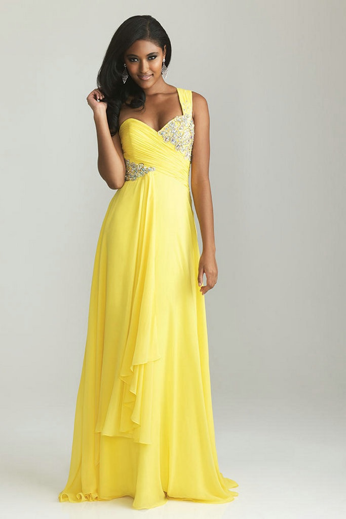 One shoudler beaded ruched yellow bridesmaid dresses a for Yellow dresses for weddings