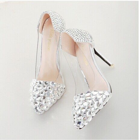 2015 Hot Sale Basic Heels High Heel Shoes Our Sweet Spring And Autumn New Shoes With Pointed Diamond Thick Thin Girl With Han(China (Mainland))