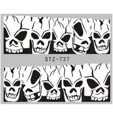 1 tấm Bí Ẩn Halloween Dán Móng Bị Ám Ảnh Xương Kinh Dị Chú Hề Chuyển Nước Thanh Trượt Móng Tay Thiết Kế Trang Trí LESTZ731-755(China)