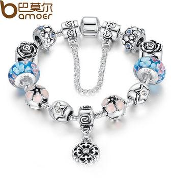 Bamoer 2015 серебро изысканный стеклянные бусины браслет с цепи роскошный нить браслет ...