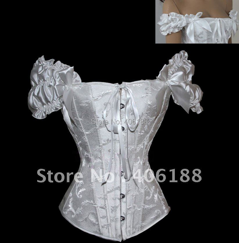 Fantasy Lace Steel Boned Corset Bustier TOP Costume Party Style white balck S-2XL - Happy buy in China store