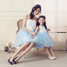 2015 Women Sleeveless Lace Hollow Out Wedding Party Dress mother/daughter cloth Ladies Chiffon Evening Party Dress Plus Size XXL