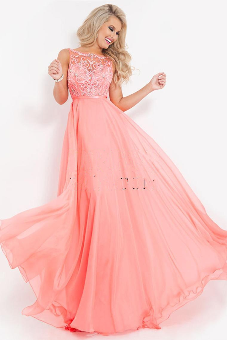 cheap coral prom dress for party over light blue long prom