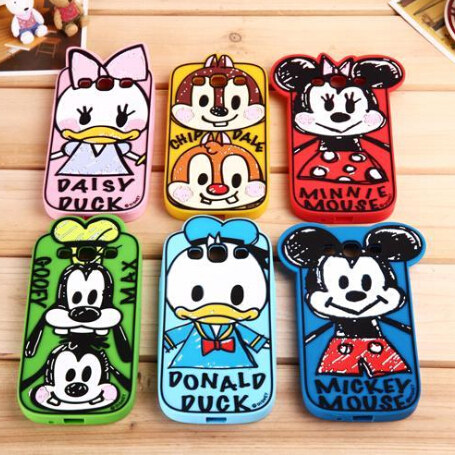 3D Cute lovely Cartoon Duck Minnie Mickey Mouse Chip Goofy Silicone Case cell phone case for Samsung galaxy S3 i9300 S4 S5(China (Mainland))