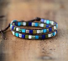 Skórzane bransoletki Mix kwadratowe kamienie naturalne 2 nici skórzane bransoletki Vintage tkactwo bransoletka boho Dropshipping(China)