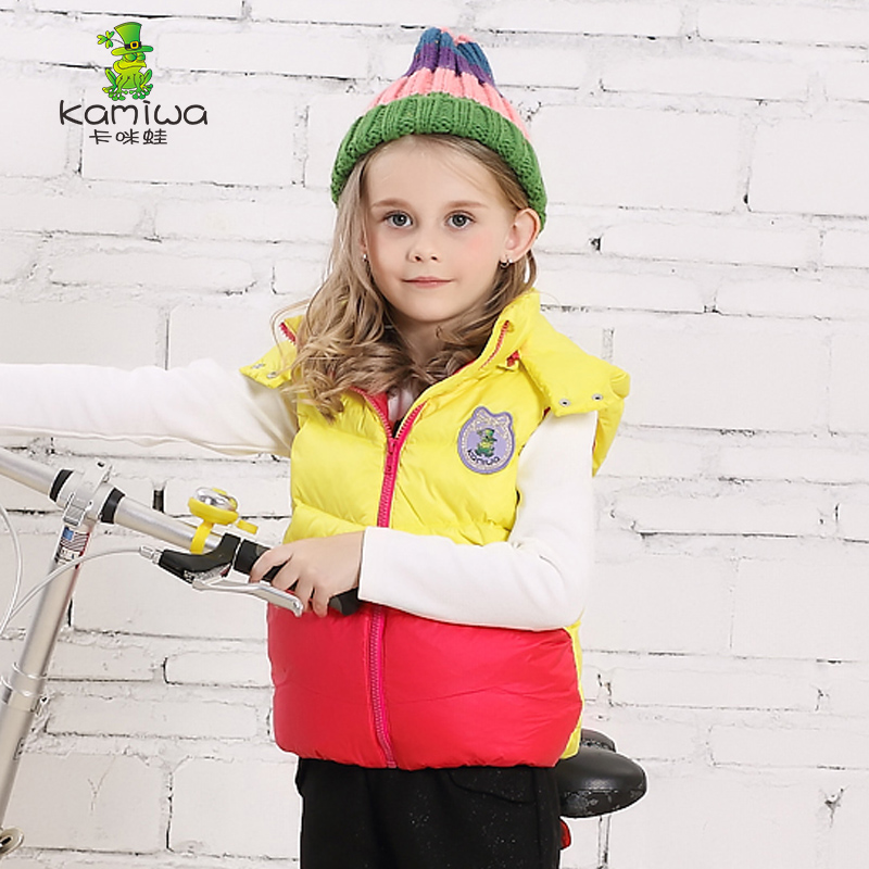 KAMIWA2015 Autumn Winter White Duck Down Coats Thicken Girls Vests Teen Cotton-padded Jackets Children's Clothing Kids Clothes(China (Mainland))