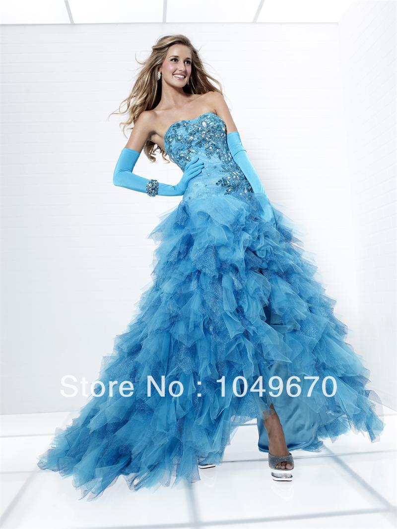 Haute couture 2014 blue strapless tutu dress organza prom for To have and to haute dress