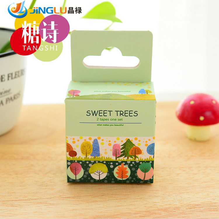 Гаджет  DIY Cartoon Japanese Washi Tape Scrapbooking Stickers Decorative Tape School Supplies Watercolor Trees  None Офисные и Школьные принадлежности