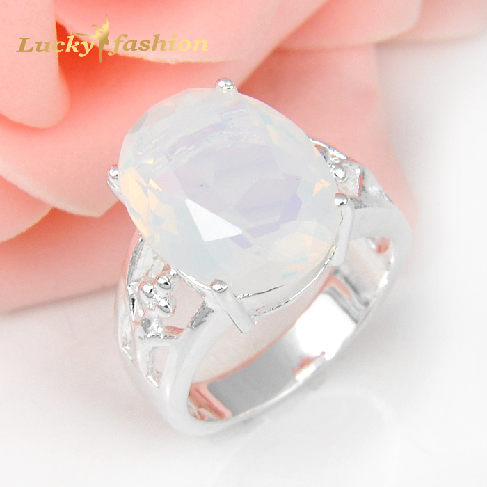 5Pcs 1 Lot Classic Oval Crystal Fire Moonstone 925 Sterling Silver Wedding Jewelry Rings Russia Rings Australia Rings(China (Mainland))