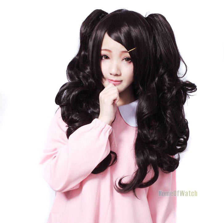 Free Shipping Long Curly Black Hair Lolita Anime Cosplay Wig + 2 Ponytail Wig (NWG0CP60958-BL2)(China (Mainland))
