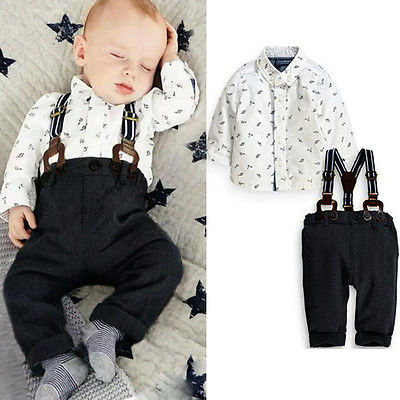 Gentlemen Baby Boys Toddler 2PCS Set Long Sleeve T-shirt Top Bib Pants Overall Outfits 3M-2Y baby clothes<br><br>Aliexpress
