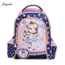New arrival Fashion  cartoon Girl's backpack kid school bags blue bag backpacks student lace  lovely bag(China (Mainland))