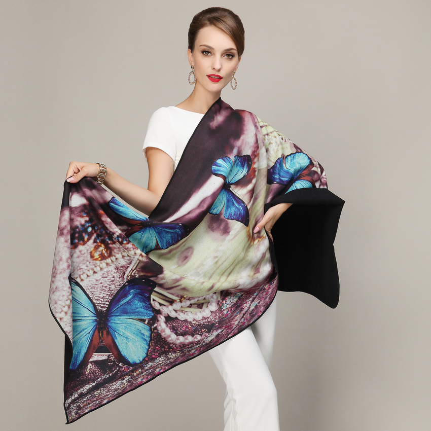 Ladies Long Pashmina 2015 New Puple Blue Scarf Shawl Butterfly Pearl Necklace Pattern Thick Wraps Large Size Cape Xale 5S002(China (Mainland))