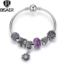 Silver Plated Strand Bangle with Butterfly,Heart,Flower Charms Fit Pandora Bracelets With Purple Glass Beads Jewelry A3077(China (Mainland))