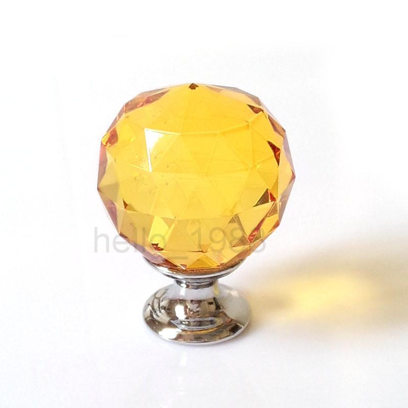 Гаджет  5pcs Yellow 30mm Cabinet Crystal Knob Drawer Pull Cupboard Closet Dresser Knob Kitchen Handle None Мебель