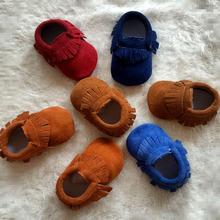 2015 New Fashion Genuine Leather Suede Newborn Baby Moccasins Soft Moccs Shoes Infant Toddler Soft Soled Non-slip Fringe Shoes(China (Mainland))