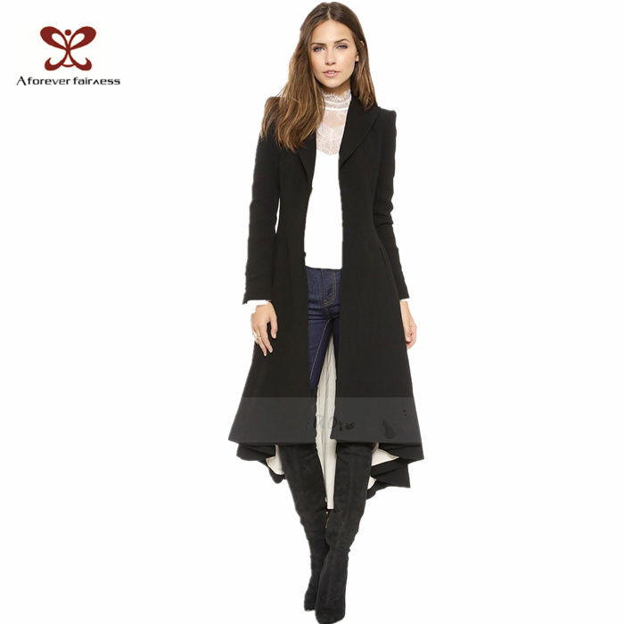 2015 New Fashion Women Slim Maxi Trench Victoria Style Black Asymmetric Length With Dovetail Hem Wool Blend Coat SKU-745(China (Mainland))