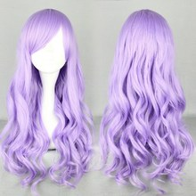 Free Shipping Fashion 70cm Long Wave Classical Purple Synthetic High Quality Women Party Cosplay Lolita Wig(China (Mainland))