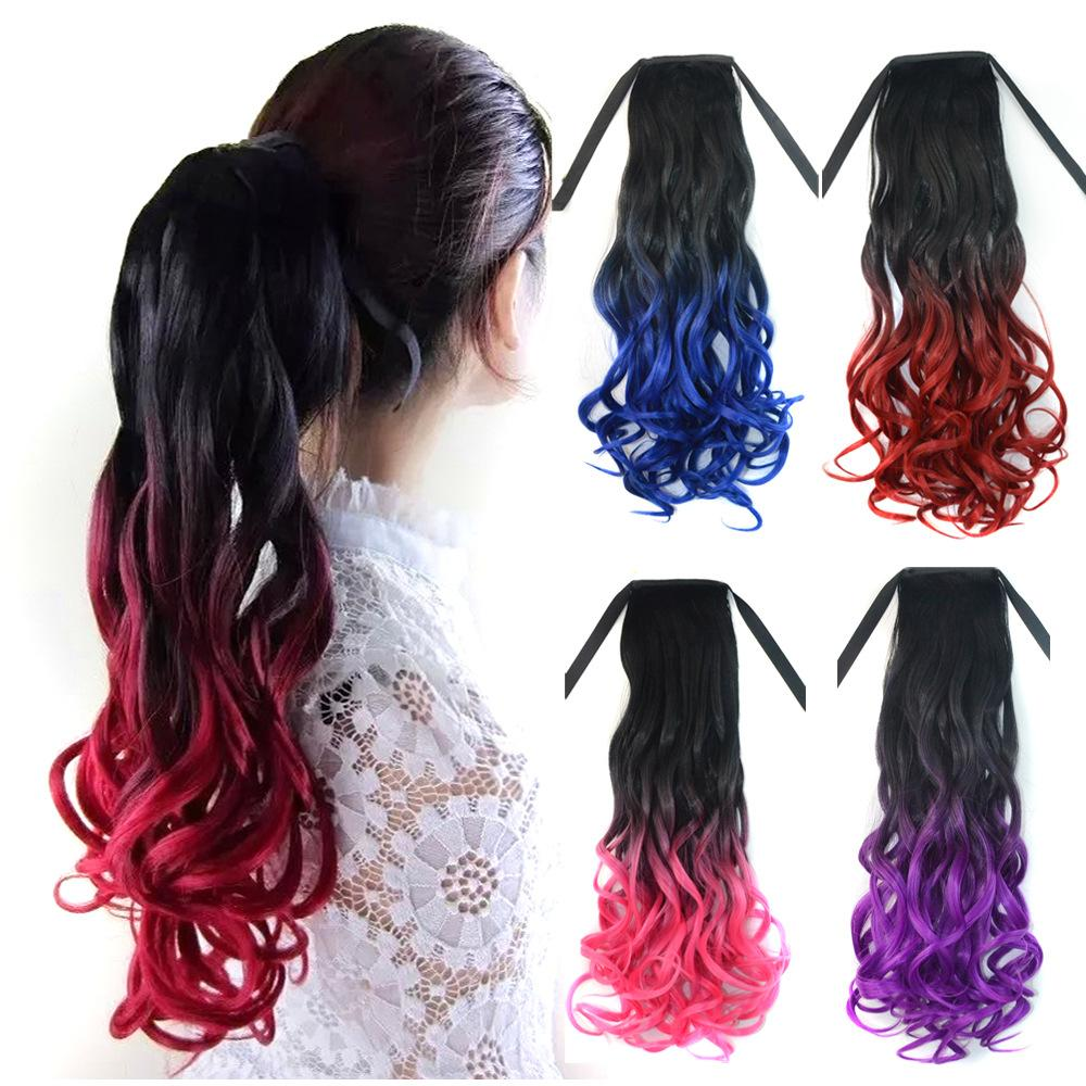 4 Colors Ponytail Hairpieces 110G 20 Hair Pieces Buns Drawstring Ponytails curly Synthetic Hair Extension<br><br>Aliexpress