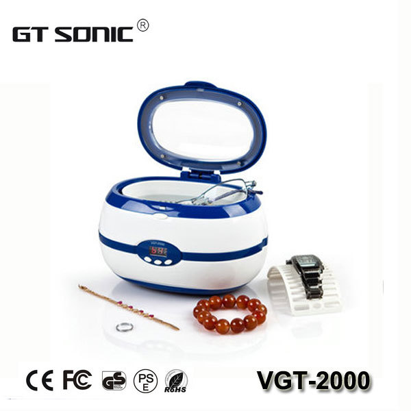 Home use Denture ultrasonic cleaner 600ml with free cleaning basket and watch holder VGT-2000 110V, 220V(China (Mainland))