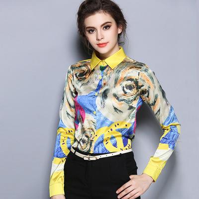 2016 Autumn long sleeveprint silk shirts women office work wear OL Silk tops yellow blouse satin - Beautiful fable store