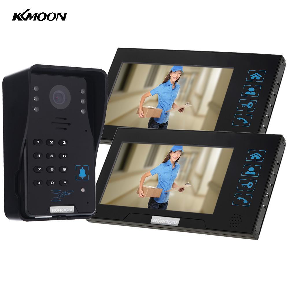 "KKmoon 7"" TFT LCD Video Door Phone ID Unlock Doorbell Intercom System 2 Monitor + 1 1000TVL IR Night Vision Camera Rainproof(China (Mainland))"