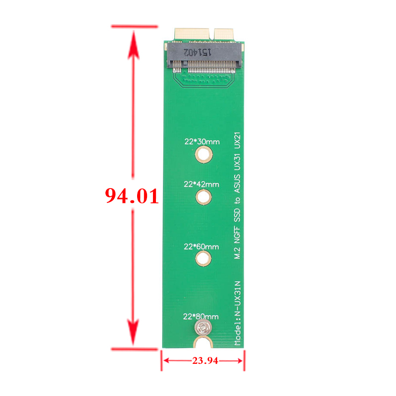 Mini PCI-E 2 Lane M.2 NGFF6+12pin for ASUS UX31 UX21 Notebook With Interface SSD Add on Cards PCBA(China (Mainland))