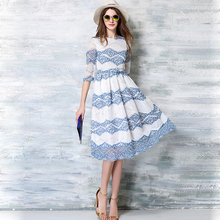 New British 2016 Summer Women's Printing Lace Long Dresses Female Casual Slim Clothing Fashion Women Sexy Party Dresses Vestidos(China (Mainland))