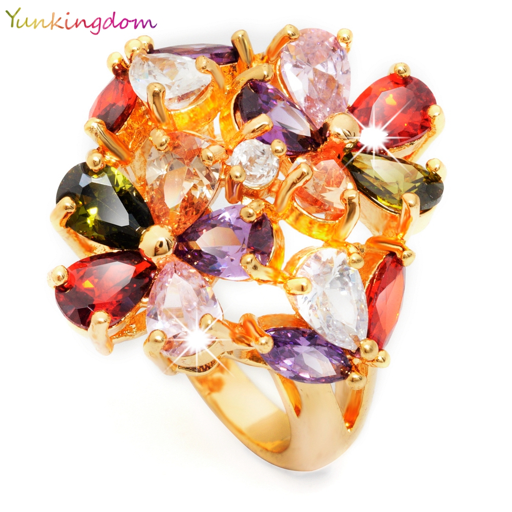 Yunkingdom Complicated Design Jewelry 24K Yellow Gold Filled Double Flower Big Rings Big CZ Diamond For Graceful Ladies(China (Mainland))