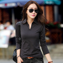 New 2016 Polo Women Long Sleeve 7 Colors Polo Shirt For Women Plus Size Cotton Polos Mujer Autumn Winter Tops Tees Ladies Polo(China (Mainland))