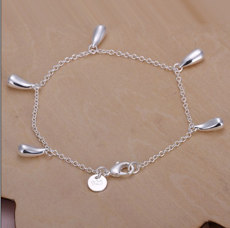 H218 fashion party jewelry water drop pendant 925 stamped silver plated bracelet nice wedding gift Top quality(China (Mainland))