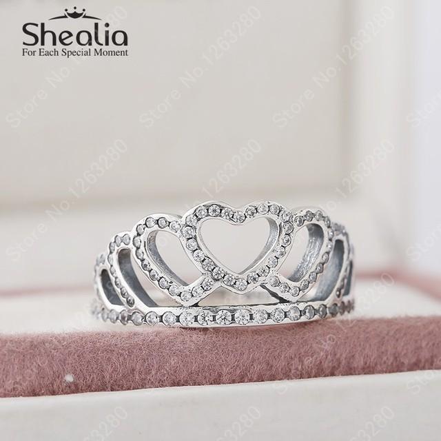 2015 осенью новый ясно Cz вымостите сердца люкс тиара корона обручальные кольца для женщин стерлингового серебра 925 мода свадебные украшения RIP140