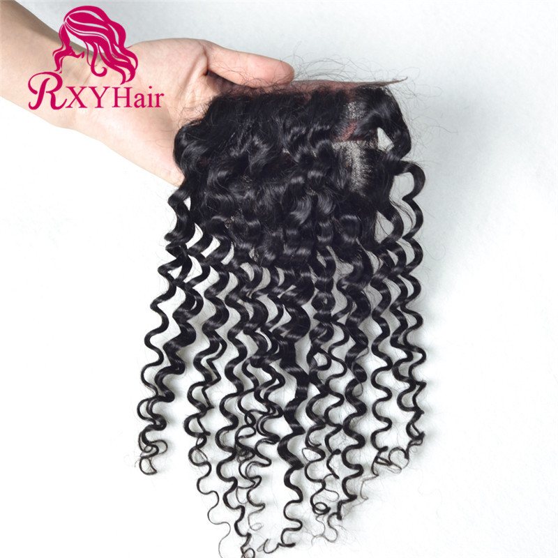 7A Cheap Indian Deep Wave Closure 4x4 Free Middle and 3 Part Lace Closure Bleached Knots 100% Human Hair Top Closure<br><br>Aliexpress
